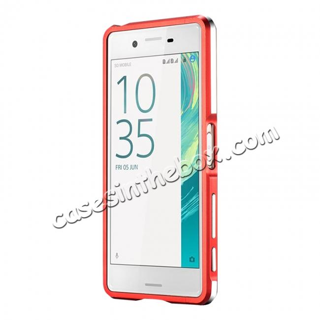 wholesale Premium Dual Color Metal Aluminum Bumper Protective Case for Sony Xperia X Performance - Red