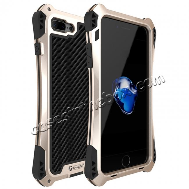 wholesale R-JUST Metal Gorilla Glass Shockproof Case Carbon Fiber Cover fo iPhone 7 Plus - Gold&Black