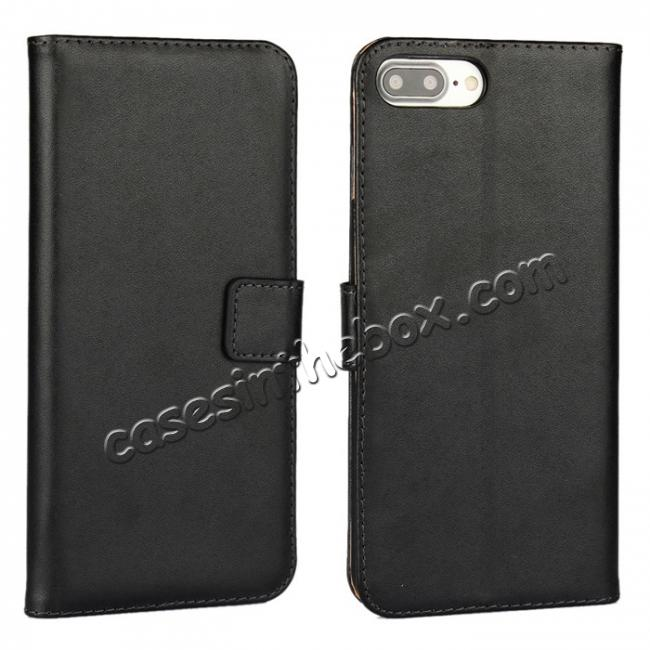 wholesale Real Genuine Leather Side Flip Wallet Case Cover for iPhone 7 4.7 inch - Black