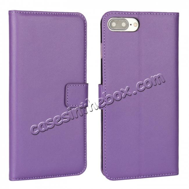 wholesale Real Genuine Leather Side Flip Wallet Case Cover for iPhone 7 4.7 inch - Purple
