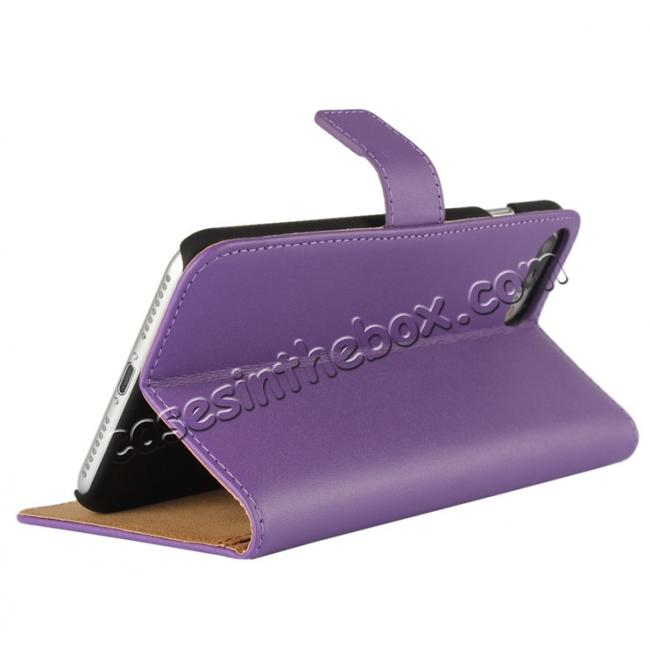 cheap Real Genuine Leather Side Flip Wallet Case Cover for iPhone 7 4.7 inch - Purple