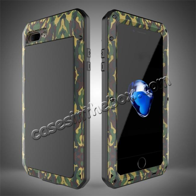 wholesale Shockproof Aluminum Metal Cover & Gorilla Glass Screen Protector Case for iPhone 7 Plus - Camouflage