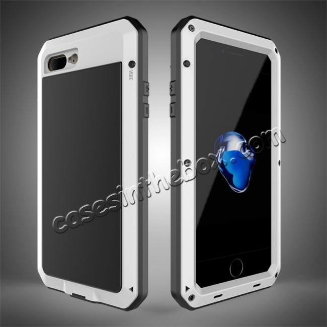wholesale Shockproof Aluminum Metal Cover & Gorilla Glass Screen Protector Case for iPhone 7 Plus - White