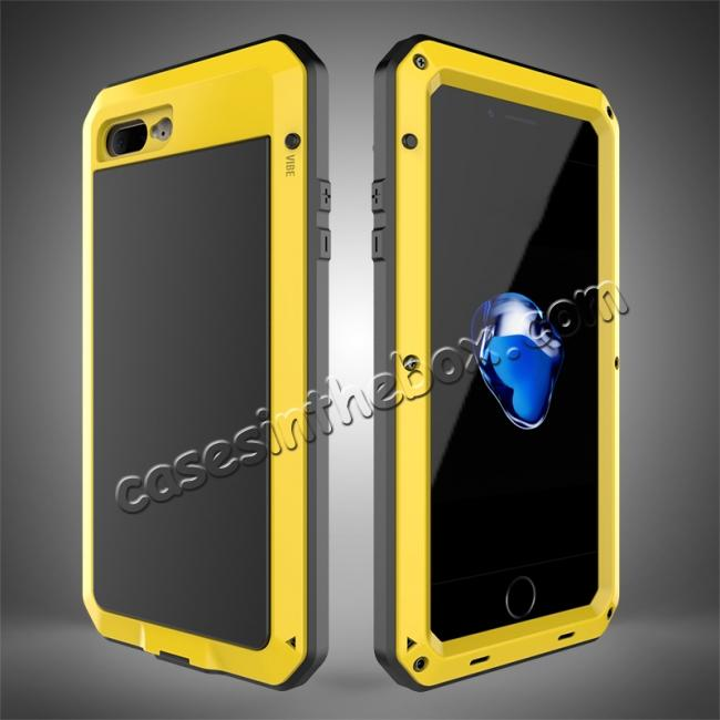 wholesale Shockproof Aluminum Metal Cover & Gorilla Glass Screen Protector Case for iPhone 7 Plus - Yellow