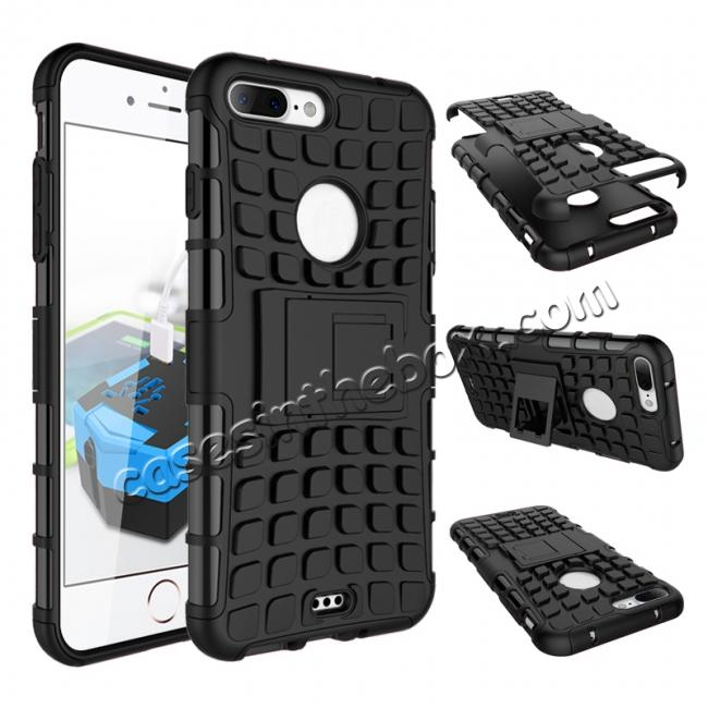 wholesale Shockproof Dual Layer Hybrid Armor Kickstand Protective Case for iPhone 7 Plus 5.5inch - Black