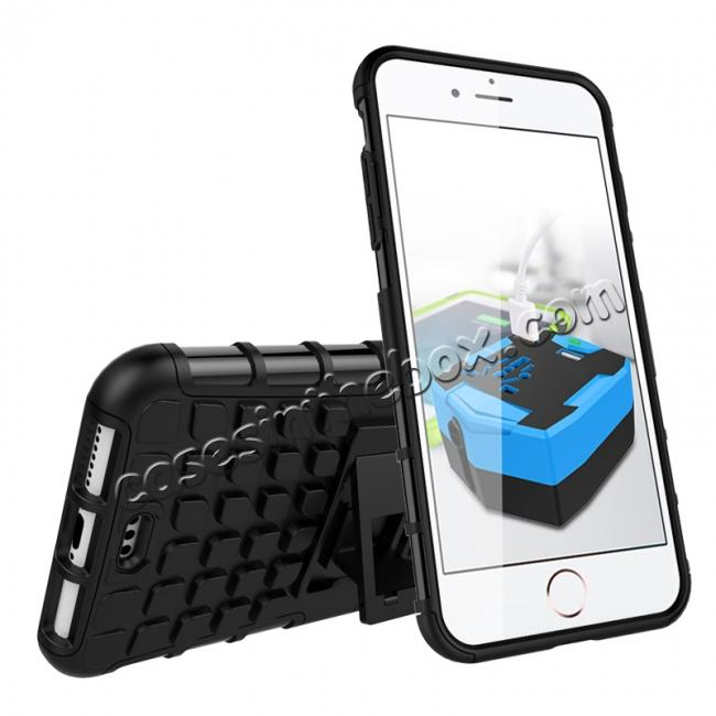 discount Shockproof Dual Layer Hybrid Armor Kickstand Protective Case for iPhone 7 Plus 5.5inch - Black