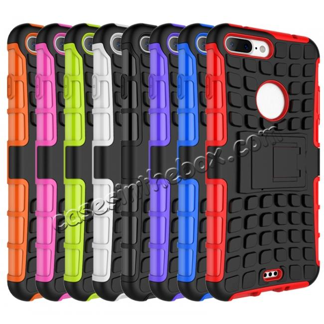 cheap Shockproof Dual Layer Hybrid Armor Kickstand Protective Case for iPhone 7 Plus 5.5inch - Hot pink