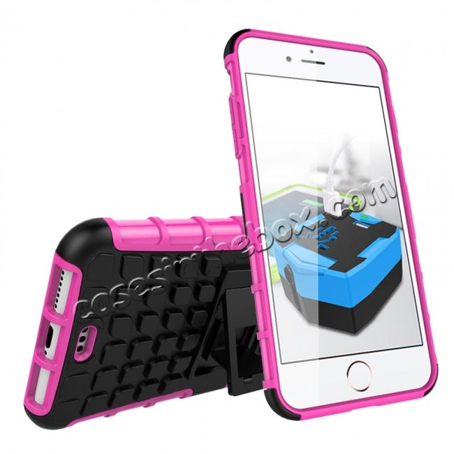 discount Shockproof Dual Layer Hybrid Armor Kickstand Protective Case for iPhone 7 Plus 5.5inch - Hot pink