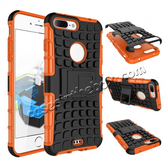 wholesale Shockproof Dual Layer Hybrid Armor Kickstand Protective Case for iPhone 7 Plus 5.5inch - Orange