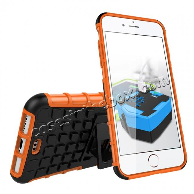 discount Shockproof Dual Layer Hybrid Armor Kickstand Protective Case for iPhone 7 Plus 5.5inch - Orange
