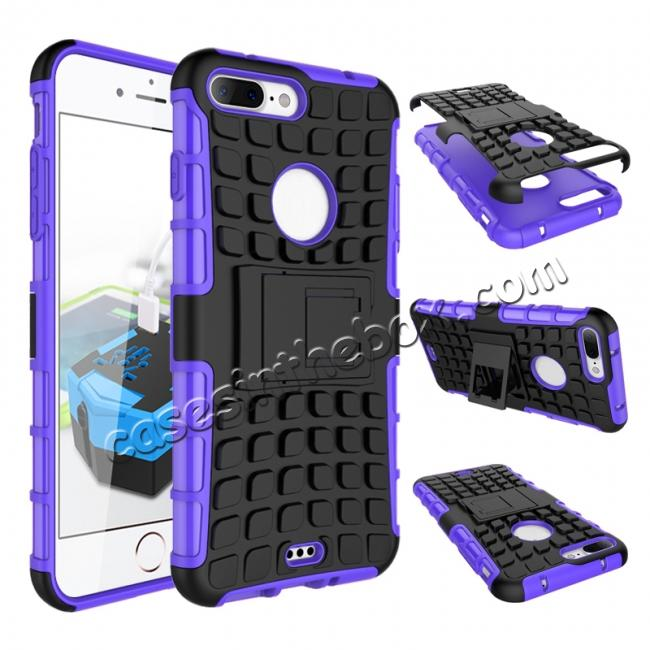 wholesale Shockproof Dual Layer Hybrid Armor Kickstand Protective Case for iPhone 7 Plus 5.5inch - Purple