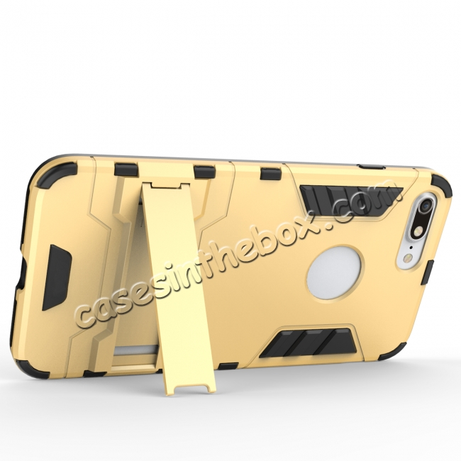 discount Tough Protective Kickstand Hybrid Armor Slim Skin Cover Case for iPhone 7 Plus 5.5inch - Gold