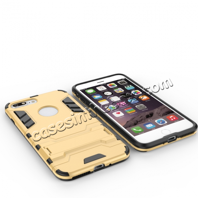 top quality Tough Protective Kickstand Hybrid Armor Slim Skin Cover Case for iPhone 7 Plus 5.5inch - Gold