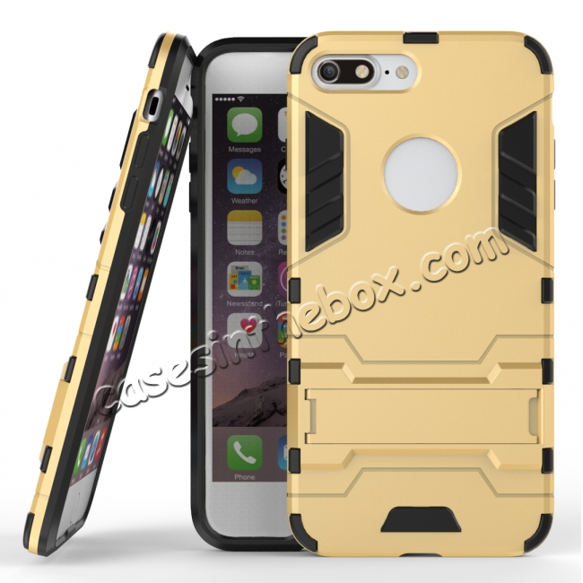 wholesale Tough Protective Kickstand Hybrid Armor Slim Skin Cover Case for iPhone 7 Plus 5.5inch - Gold