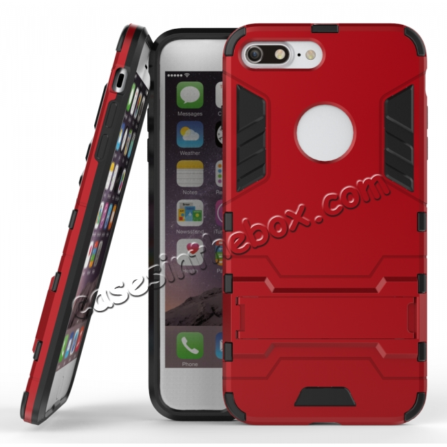 wholesale Tough Protective Kickstand Hybrid Armor Slim Skin Cover Case for iPhone 7 Plus 5.5inch - Red
