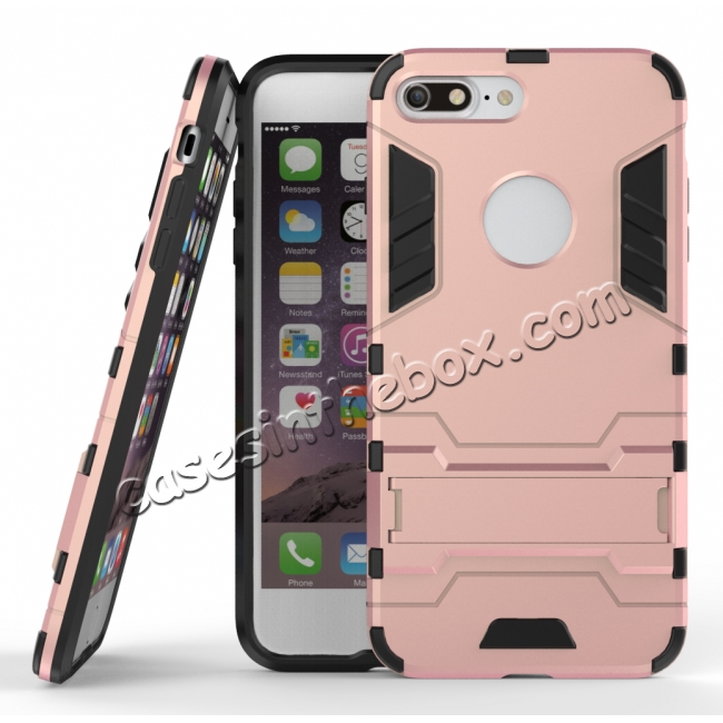 wholesale Tough Protective Kickstand Hybrid Armor Slim Skin Cover Case for iPhone 7 Plus 5.5inch - Rose gold