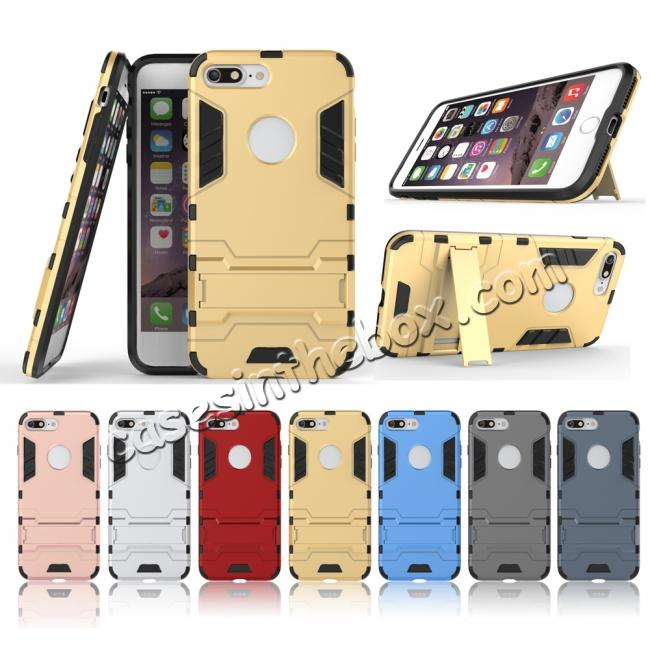 discount Tough Protective Kickstand Hybrid Armor Slim Skin Cover Case for iPhone 7 Plus 5.5inch - Silver