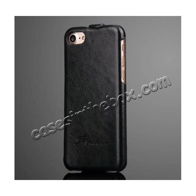 wholesale Crazy Horse Grain Top Flip Leather Case for iPhone 7 4.7inch - Black