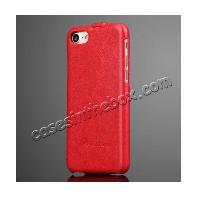 wholesale Crazy Horse Grain Top Flip Leather Case for iPhone 7 4.7inch - Red