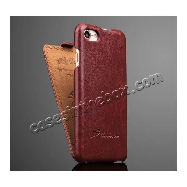 cheap Crazy Horse Grain Top Flip Leather Case for iPhone 7 4.7inch - Red