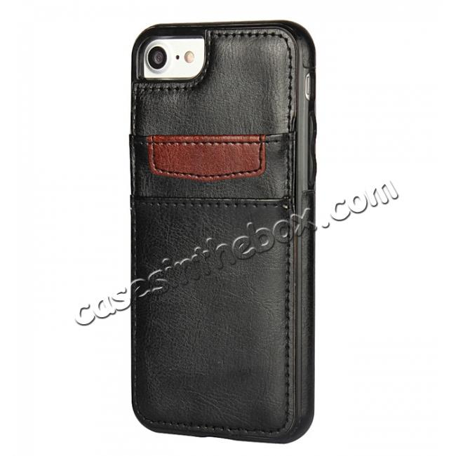 discount Crazy Horse Leather Card Slots TPU Back Case Cover For iPhone 7 4.7 inch - Black
