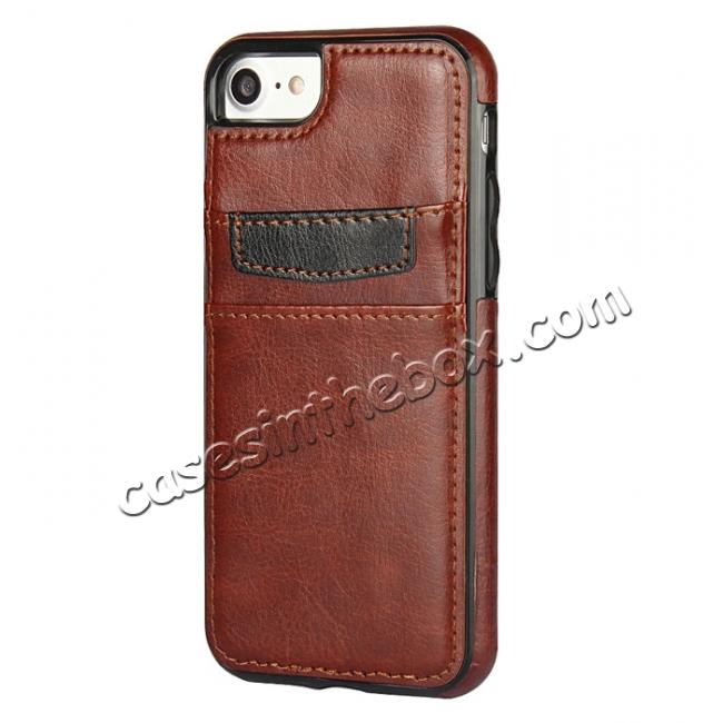 discount Crazy Horse Leather Card Slots TPU Back Case Cover For iPhone 7 4.7 inch - Brown