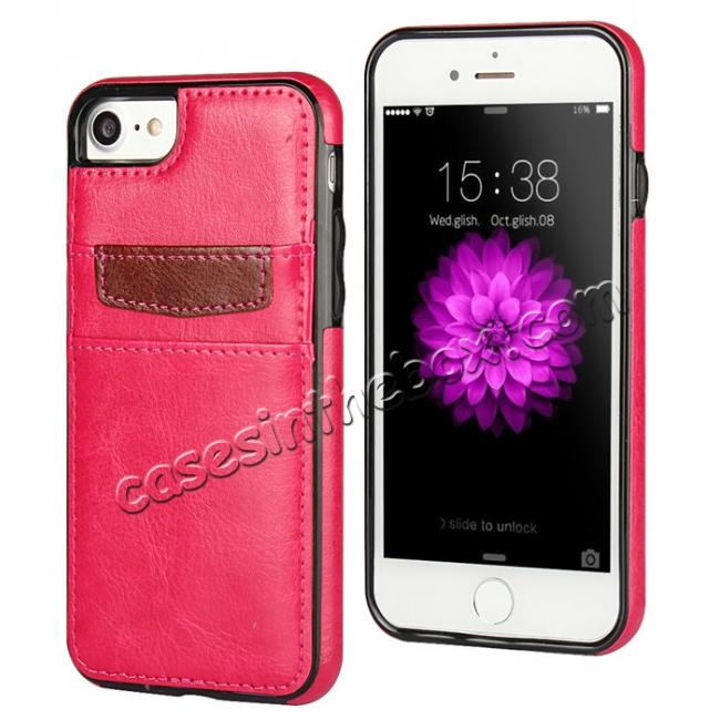 wholesale Crazy Horse Leather Card Slots TPU Back Case Cover For iPhone 7 4.7 inch - Rose