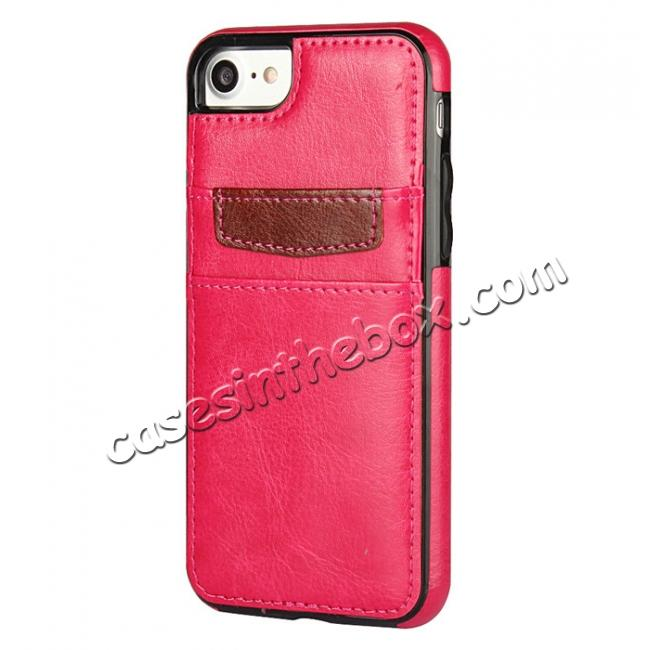 discount Crazy Horse Leather Card Slots TPU Back Case Cover For iPhone 7 4.7 inch - Rose