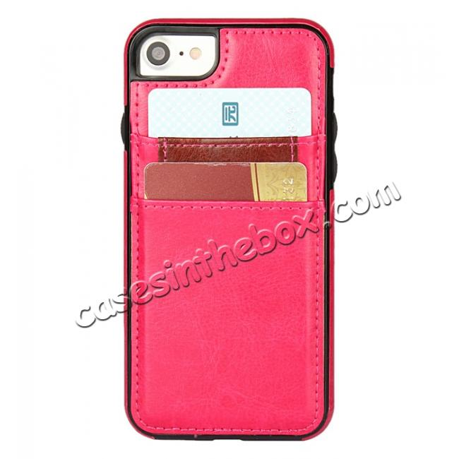top quality Crazy Horse Leather Card Slots TPU Back Case Cover For iPhone 7 4.7 inch - Rose