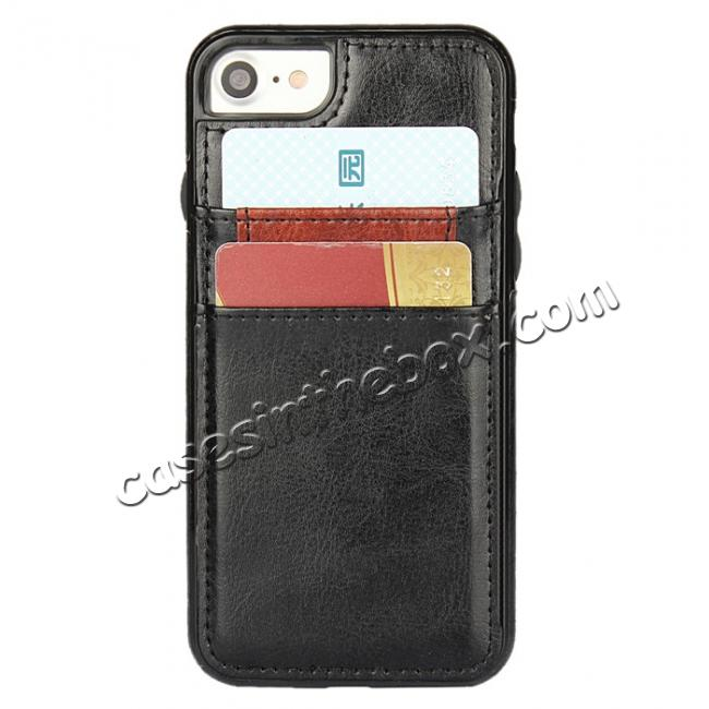 top quality Crazy Horse Leather Card Slots TPU Back Case Cover For iPhone 7 Plus 5.5 inch - Black