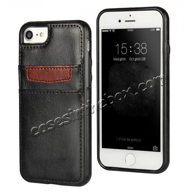 wholesale Crazy Horse Leather Card Slots TPU Back Case Cover For iPhone 7 Plus 5.5 inch - Black