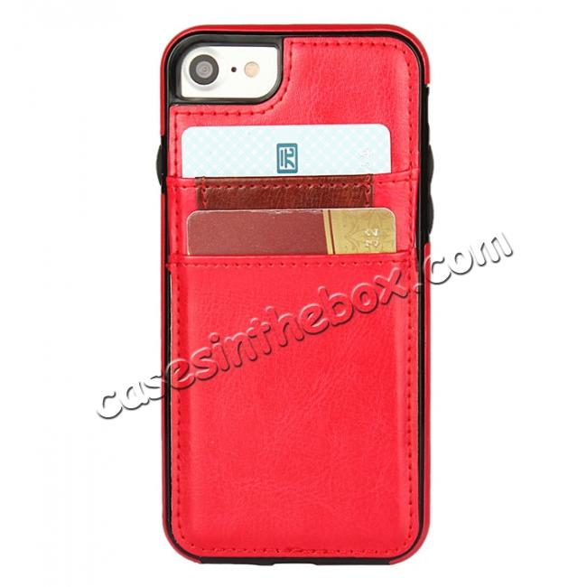 top quality Crazy Horse Leather Card Slots TPU Back Case Cover For iPhone 7 Plus 5.5 inch - Red