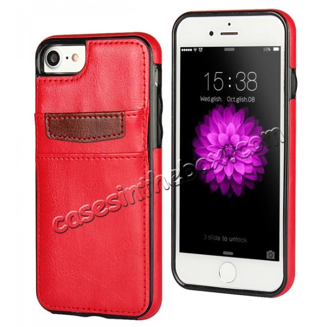wholesale Crazy Horse Leather Card Slots TPU Back Case Cover For iPhone 7 Plus 5.5 inch - Red