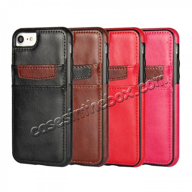 on sale Crazy Horse Leather Card Slots TPU Back Case Cover For iPhone 7 Plus 5.5 inch - Red
