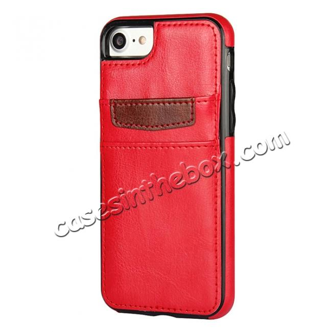 discount Crazy Horse Leather Card Slots TPU Back Case Cover For iPhone 7 Plus 5.5 inch - Red