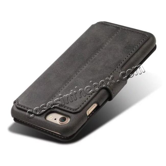 top quality Crazy Horse Leather Flip Wallet Stand Case Cover for iPhone 7 4.7 Inch - Black