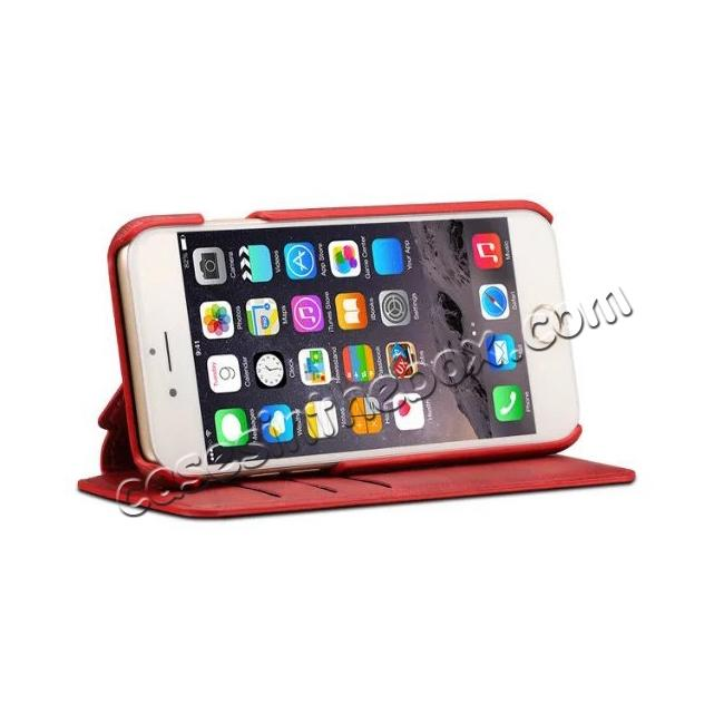 discount Crazy Horse Leather Flip Wallet Stand Case Cover for iPhone 7 4.7 Inch - Red