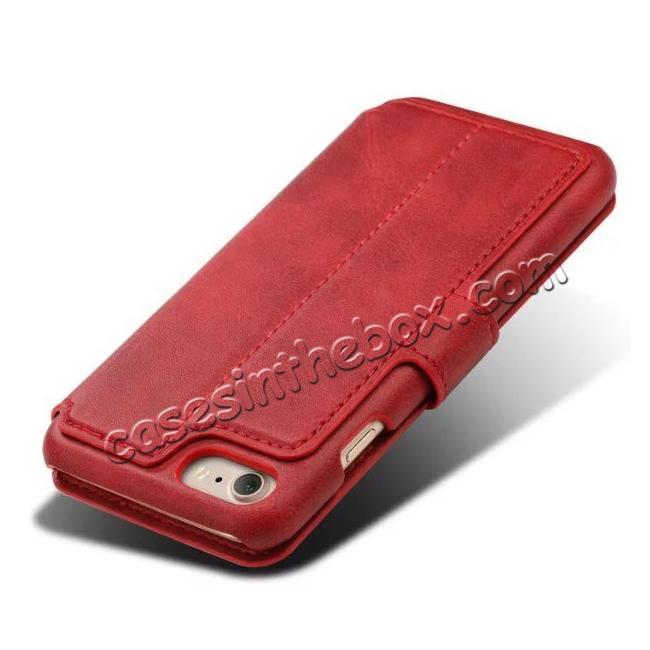cheap Crazy Horse Leather Flip Wallet Stand Case Cover for iPhone 7 4.7 Inch - Red