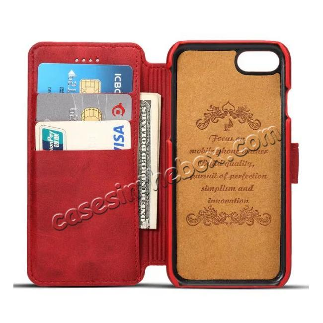 top quality Crazy Horse Leather Flip Wallet Stand Case Cover for iPhone 7 4.7 Inch - Red