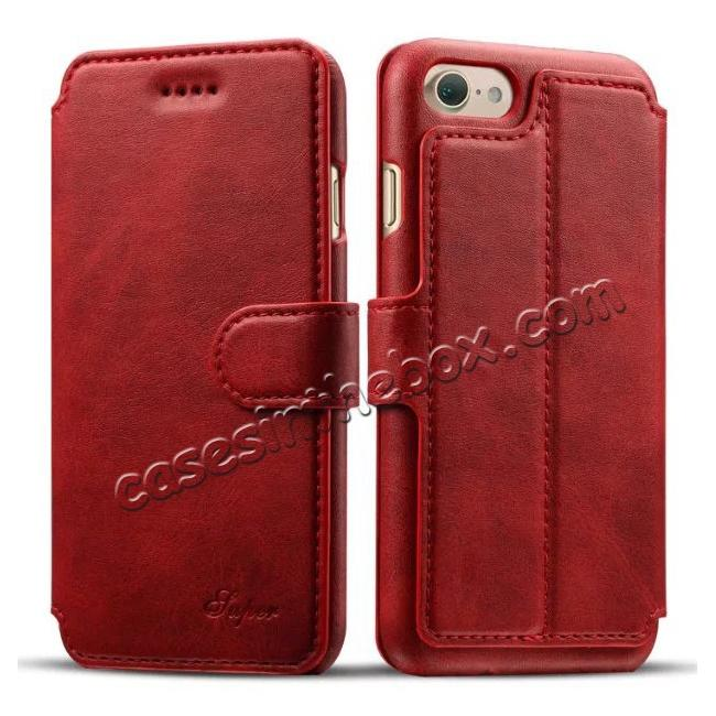 wholesale Crazy Horse Leather Flip Wallet Stand Case Cover for iPhone 7 4.7 Inch - Red