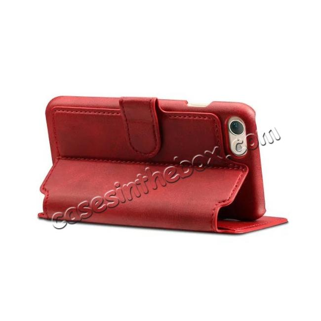 best price Crazy Horse Leather Flip Wallet Stand Case Cover for iPhone 7 4.7 Inch - Red