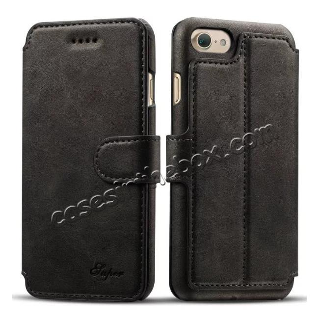 wholesale Crazy Horse Leather Flip Wallet Stand Case Cover for iPhone 7 Plus 5.5 Inch - Black