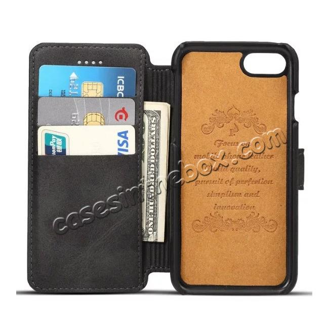 discount Crazy Horse Leather Flip Wallet Stand Case Cover for iPhone 7 Plus 5.5 Inch - Black