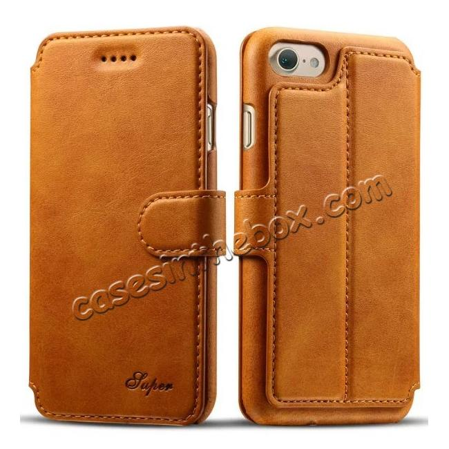 wholesale Crazy Horse Leather Flip Wallet Stand Case Cover for iPhone 7 Plus 5.5 Inch - Brown