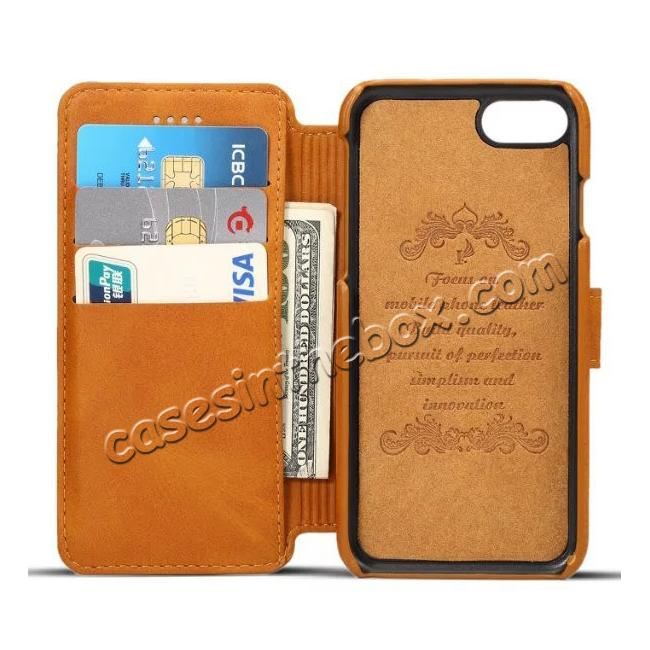 discount Crazy Horse Leather Flip Wallet Stand Case Cover for iPhone 7 Plus 5.5 Inch - Brown