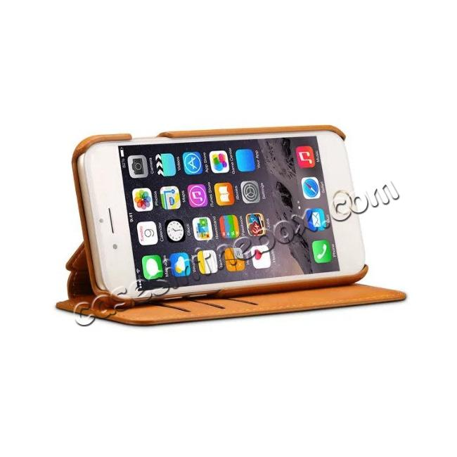 top quality Crazy Horse Leather Flip Wallet Stand Case Cover for iPhone 7 Plus 5.5 Inch - Brown