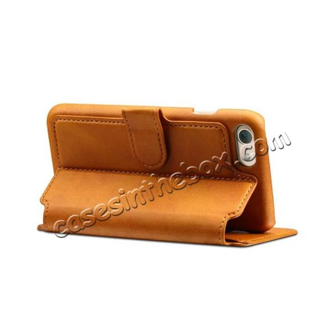 cheap Crazy Horse Leather Flip Wallet Stand Case Cover for iPhone 7 Plus 5.5 Inch - Brown