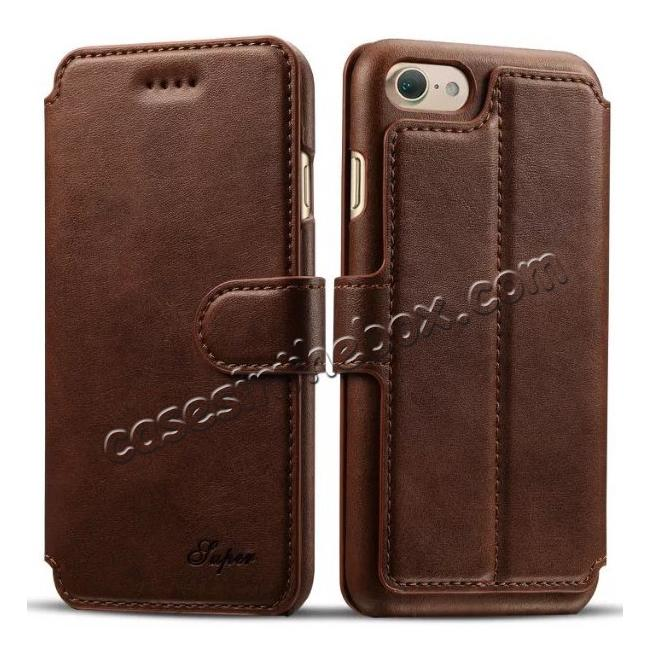 wholesale Crazy Horse Leather Flip Wallet Stand Case Cover for iPhone 7 Plus 5.5 Inch - Coffee