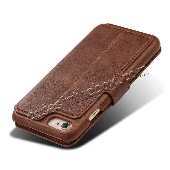 top quality Crazy Horse Leather Flip Wallet Stand Case Cover for iPhone 7 Plus 5.5 Inch - Coffee