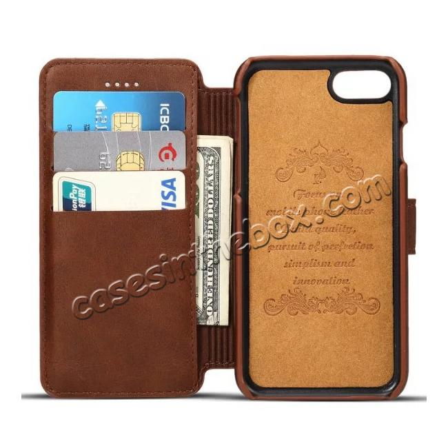 best price Crazy Horse Leather Flip Wallet Stand Case Cover for iPhone 7 Plus 5.5 Inch - Coffee
